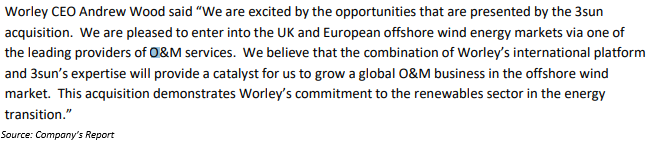 The Worley CEO Andrew Wood commented
