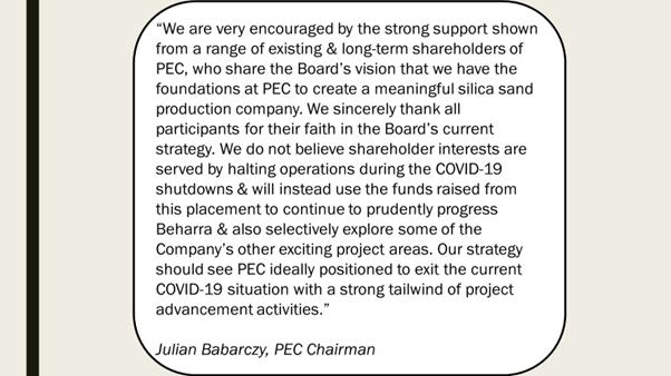 PEC Chairman comments