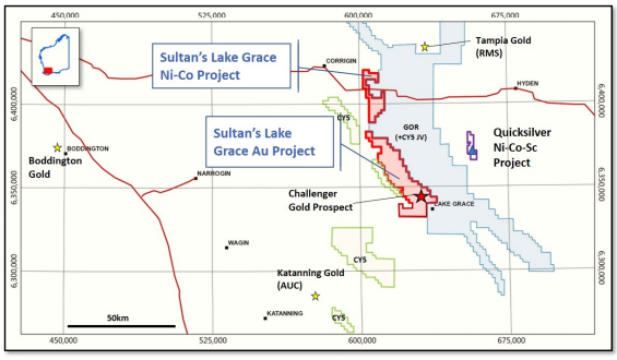 Regional map view of Sultan's Lake Grace portfolio Source: Sultan Resources
