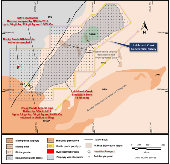 Geology and exploration targets at Leichhardt Creek showing the planned geochemical survey (Source: Company's Report)