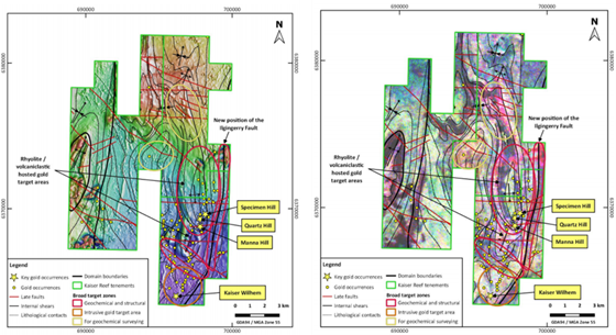 Magnetic Intensity image (L), Potassium alteration and prospects over the project area (R) Source: Kaiser Reef Limited