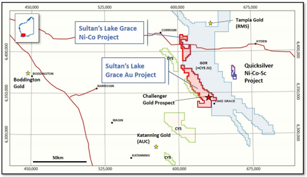Regional map view of Sultan's Lake Grace portfolio in relation to surrounding tenure and significant gold deposits Source: Sultan Resources