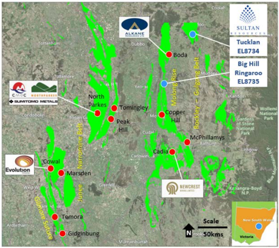 Regional Location Map – Big Hill, Tucklan and Ringaroo over the prospective Macquarie Arc sequence Source: Sultan Resources