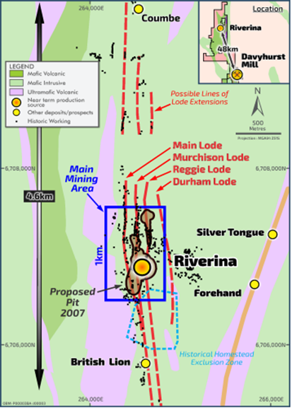 Riverina Plan Indicating Mineralised Lodes Within the Main Mining Area (Source: Company's Report)