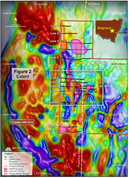 DGPR survey lines and anomalies on processed Aeromagnetic Imagery (Source: ASX Announcement)
