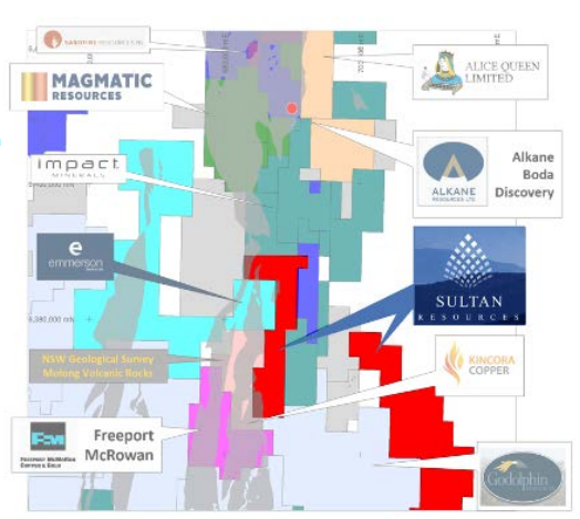 Molong Volcanic Belt and competitor tenement positions Source: Sultan Resources