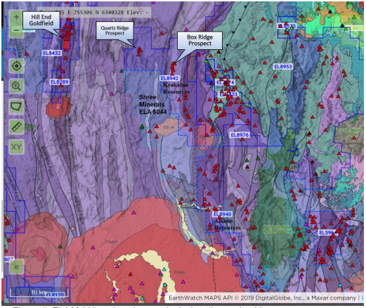 ELA6044 location plan, geological setting, and gold occurrences Source: Shree Minerals