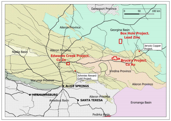 Arunta Joint Venture projects in the prolific regional setting source: Shree Minerals