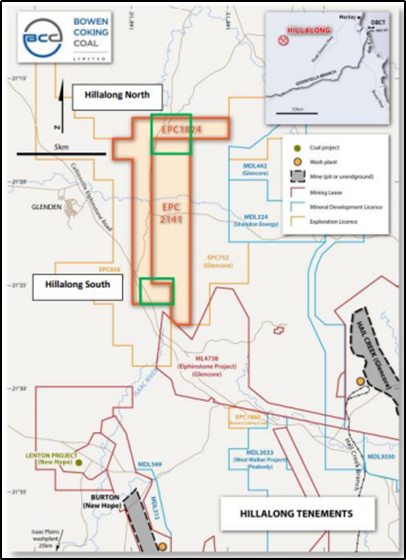 Location of Hillalong North and Hillalong South (Source: ASX Announcement)