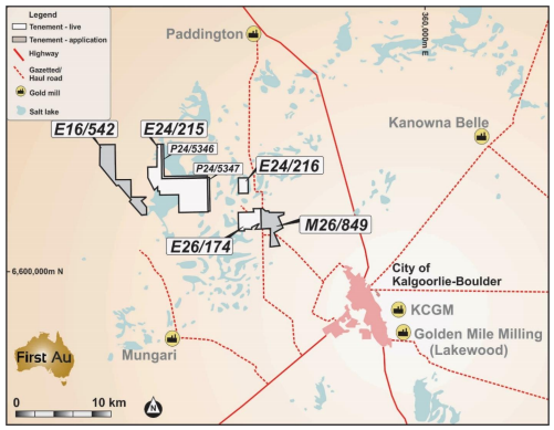 First Au's Gimlet in the neighbourhood of Kalgoorlie Goldfields Source: First Au