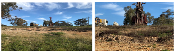 Drilling Rig and support truck at the backfilled historic Rockdale shafts Source: Kaiser Reef ASX Update 3 September 2020