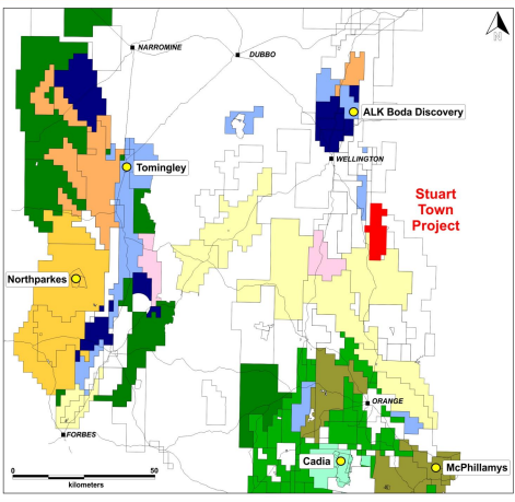 Gold Projects and operations in the neighbourhood of Stuart Town Gold Project Source: Kaiser Reef investor presentation 17 July 2020