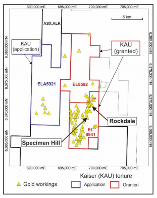 Location of Specimen Hill and Rockdale Mines at the Stuart Town Gold Project Source: Kaiser Reef ASX 3 September 2020