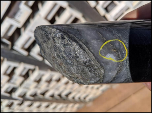 Visible Gold in Core from 20RDD004 at approximately 410m (Source: ASX Announcement 21/09/2020)