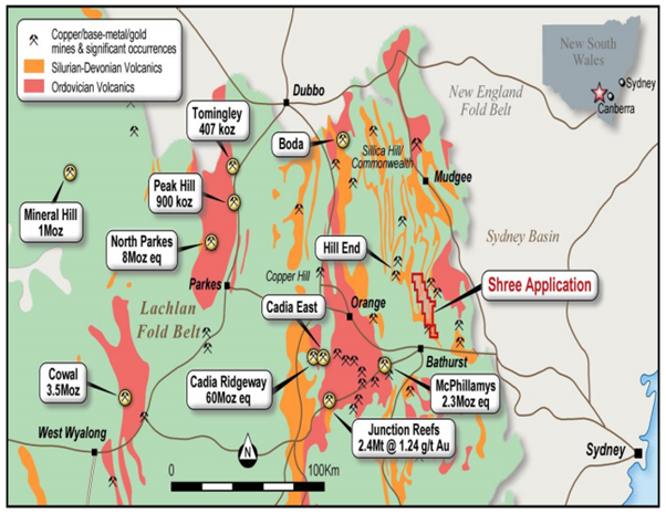 Turondale tenement application in the East Lachlan Fold Belt Source: Shree Minerals 8 September 2020